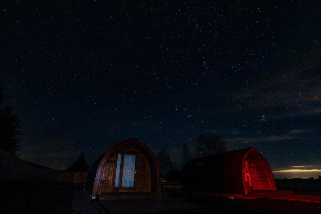 Sycamore glamping pods northumberland - exterior view stars