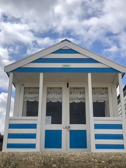 front of jabba the hut southwold beach hut