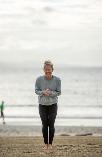 yoga with pip from Maitri Yoga on Lyme Regis beach