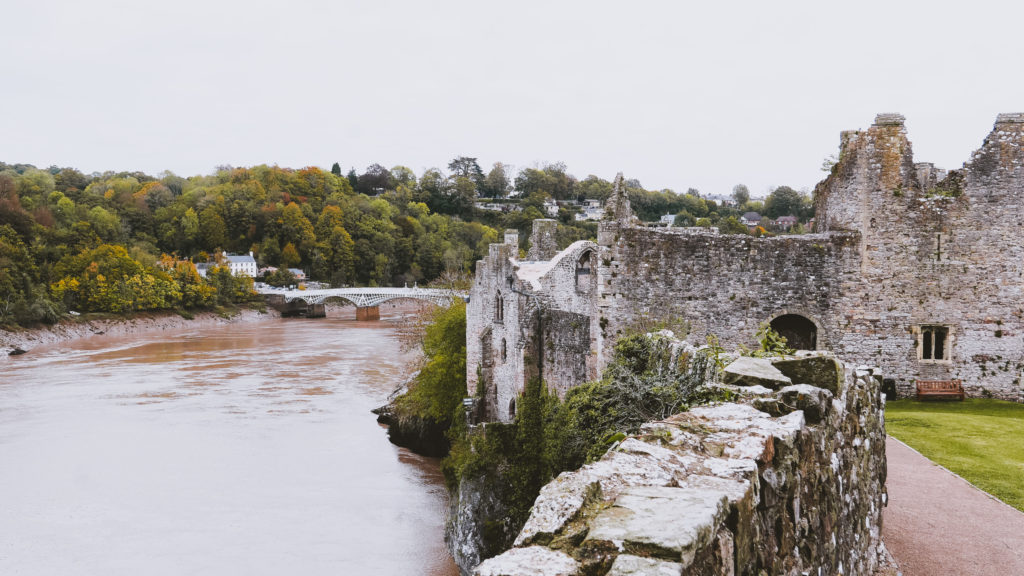 chepstow castle view over river wye in in the wye valley