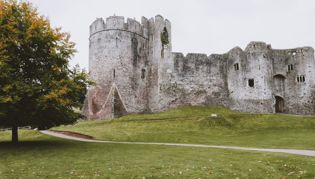 chepstow castle front view in the wye valley