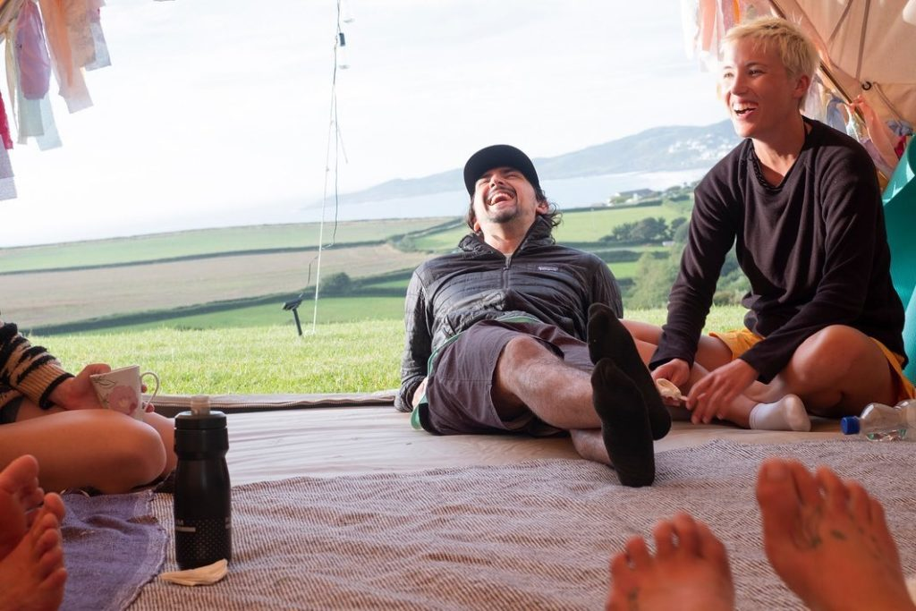 Swell Yoga Retreat North Devon - relaxing in tent