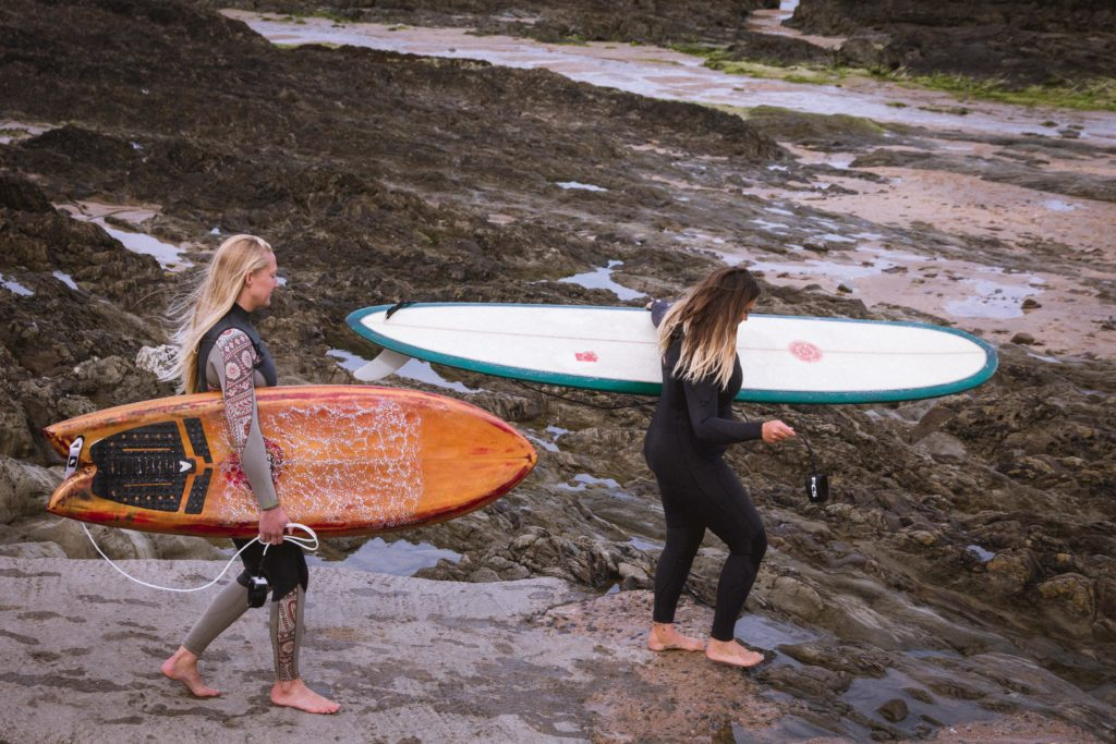 Swell Yoga Retreat North Devon - catching surf