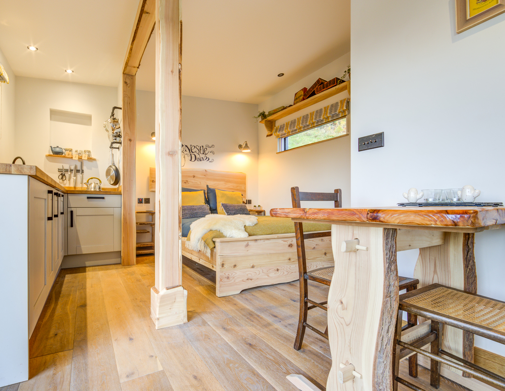 Forest of Dean Cabins at The Roost Glamping: the Nest Interior bedroom