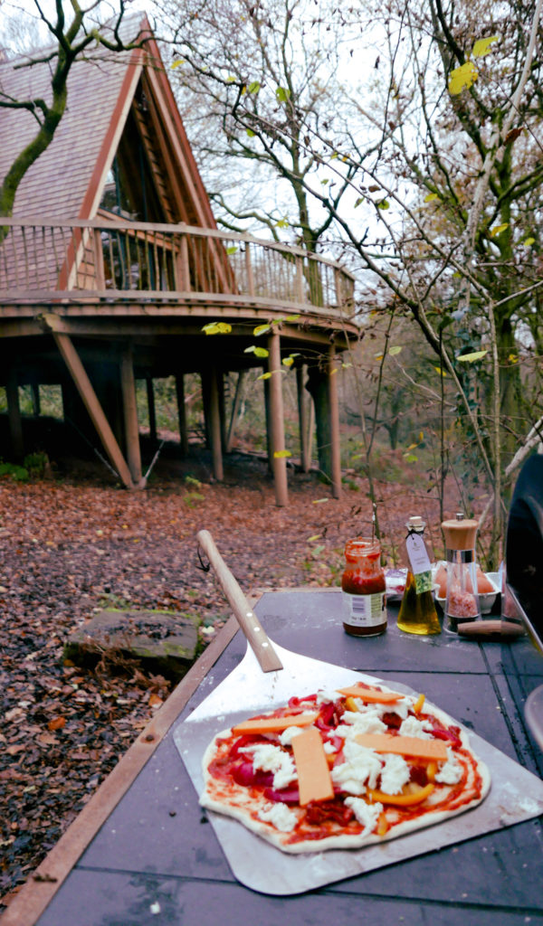 Hudnalls Hideout - treehouse to stay in, Wye Valley. Pizza and view of treehouse