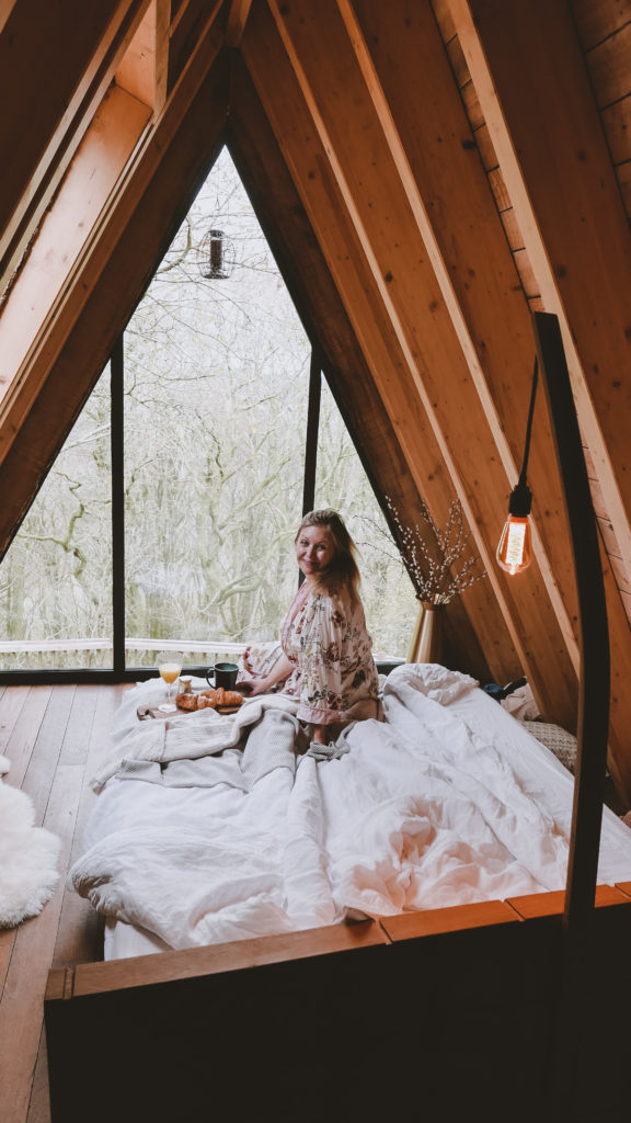 Hudnalls Hideout - treehouse to stay in, Wye Valley. Interior: bedroom