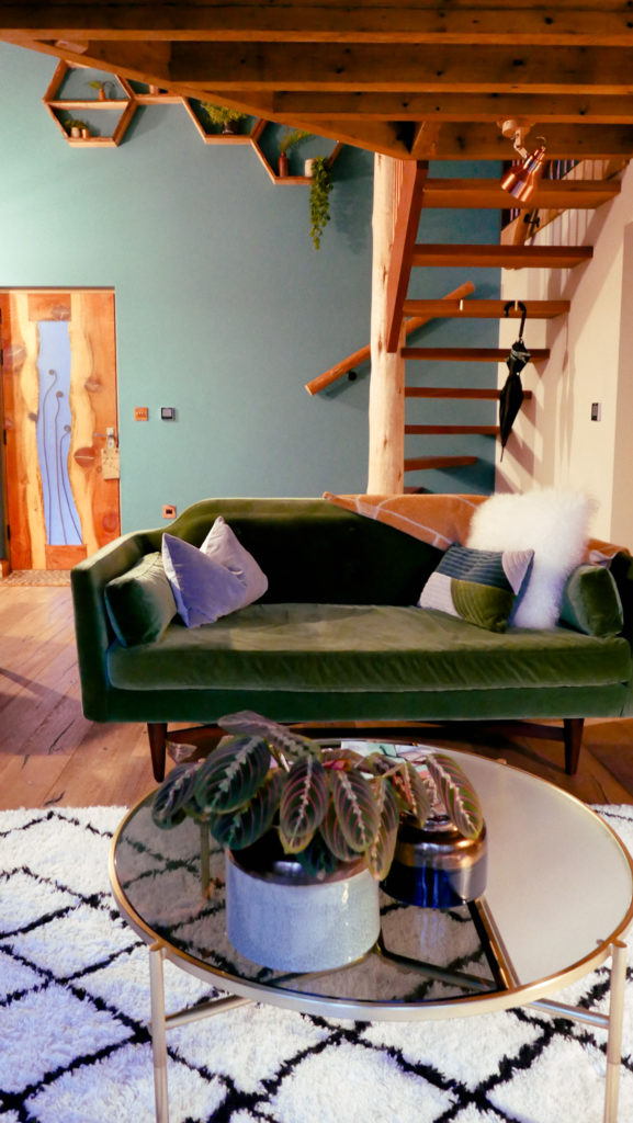 Hudnalls Hideout - treehouse to stay in, Wye Valley. Interior: lounge