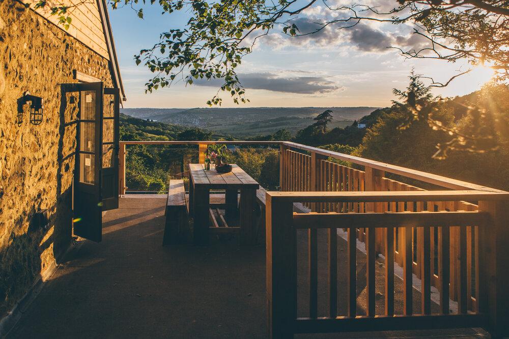 lyme-regis-quarrymanscottage view from terrace at sunset