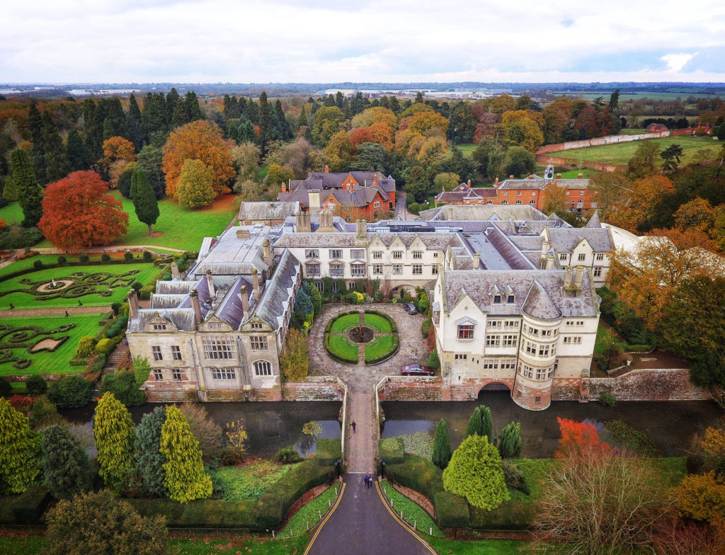 Overhead shot of Coombe Abbey in Warwickshire