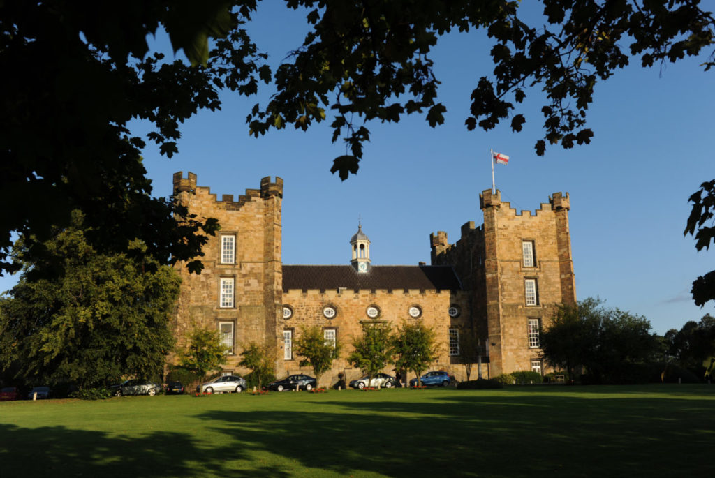 murder mystery evening at Lumley Castle - castle and blue sky