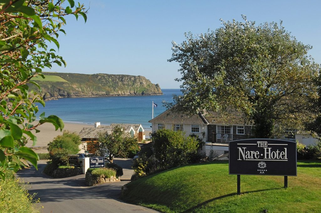 View of The Nare Hotel and Beach in Cornwall