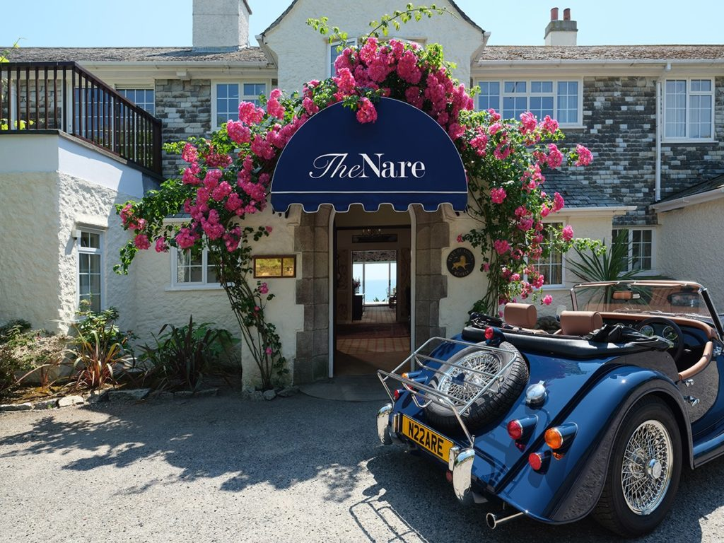 Front door of The Nare Hotel in Cornwall