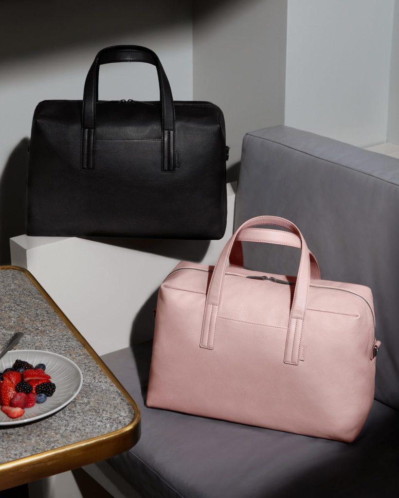 away weekend bag pink and black
