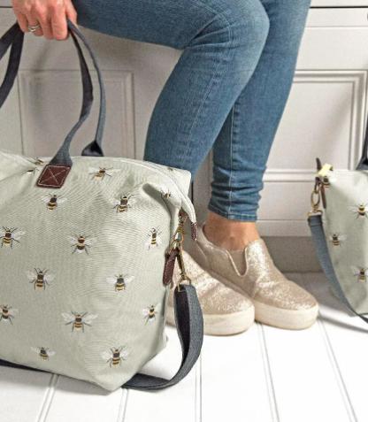 weekend bag with bee print by sophie allport