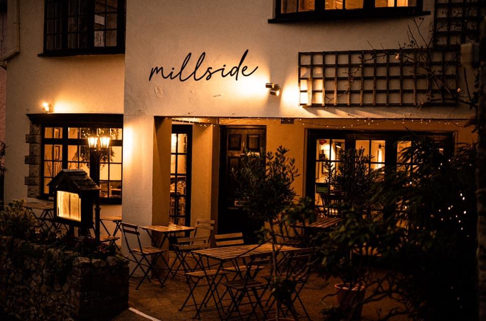 The Millside restaurant in Lyme Regis - at night