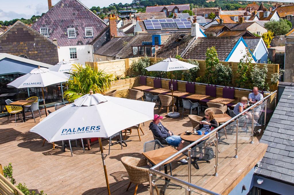 pilot boat inn lyme regis - roof terrace