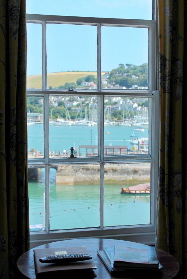 view of river dart from the royal castle hotel in Dartmouth