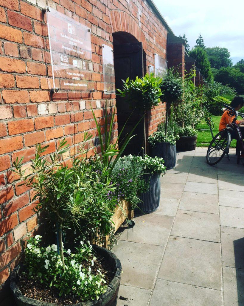 secret garden cafe in cardiff - outside walled garden