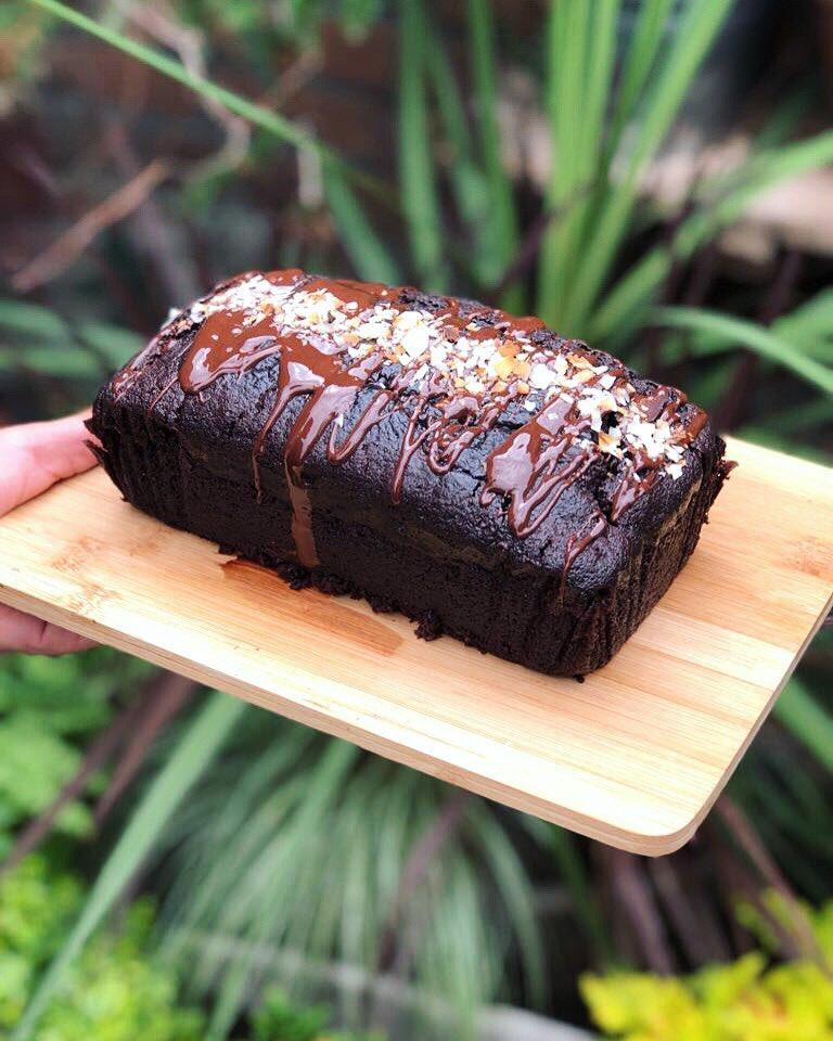 secret garden cafe in cardiff - vegan chocolate cake