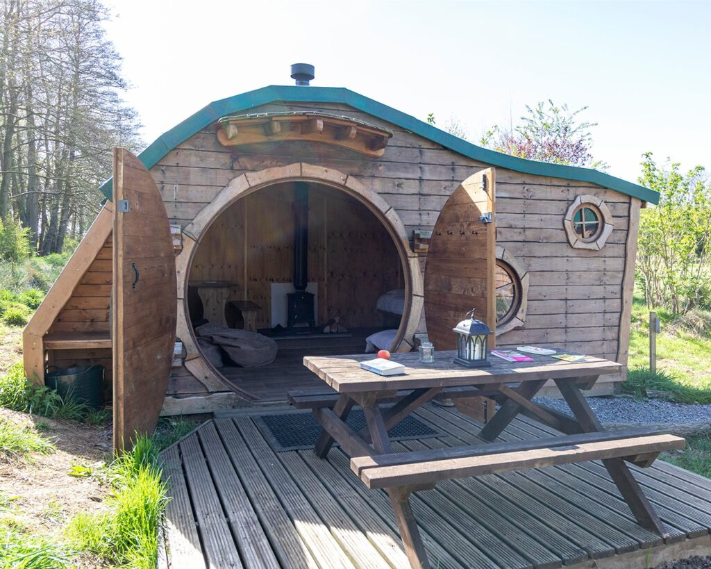 camping near york - hobbit house with doors open
