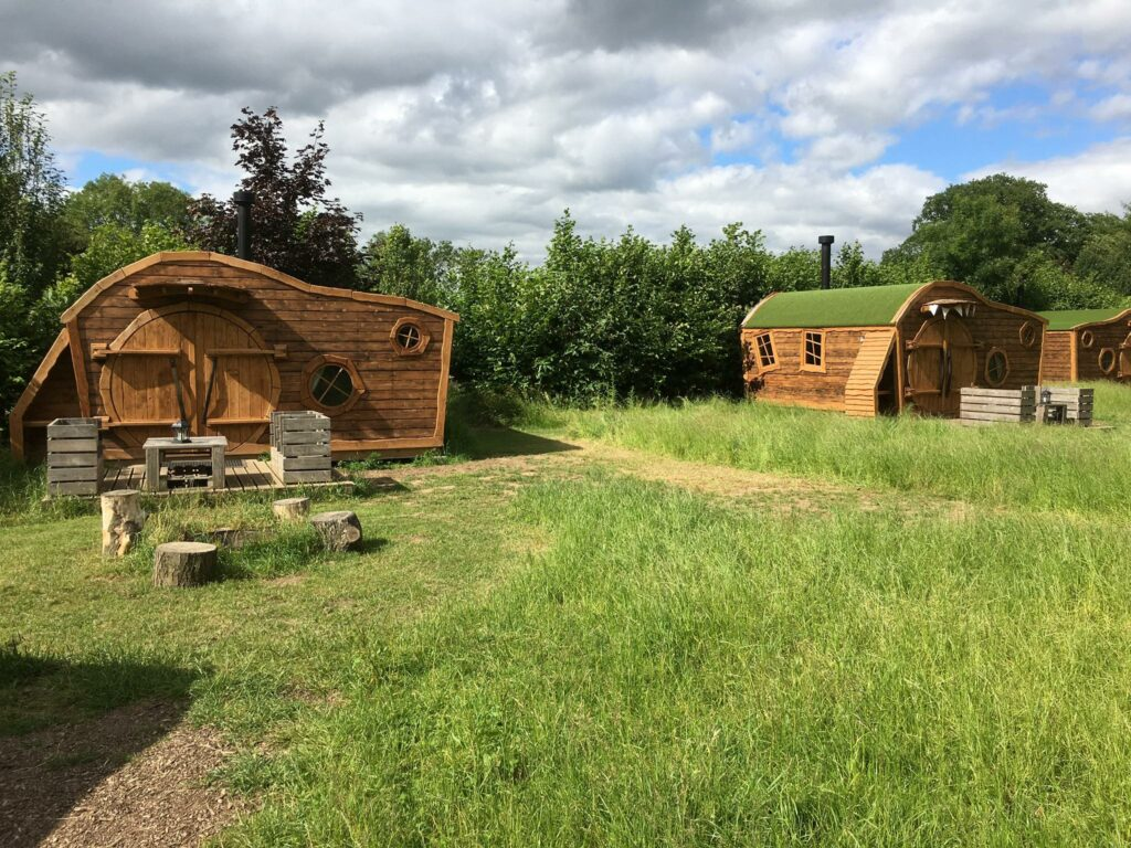 camping near york - hobbit houses in hideaway field