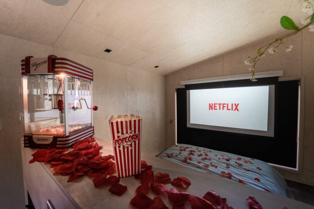 Hidey-hole cabin east sussex glamping experience - movie screen