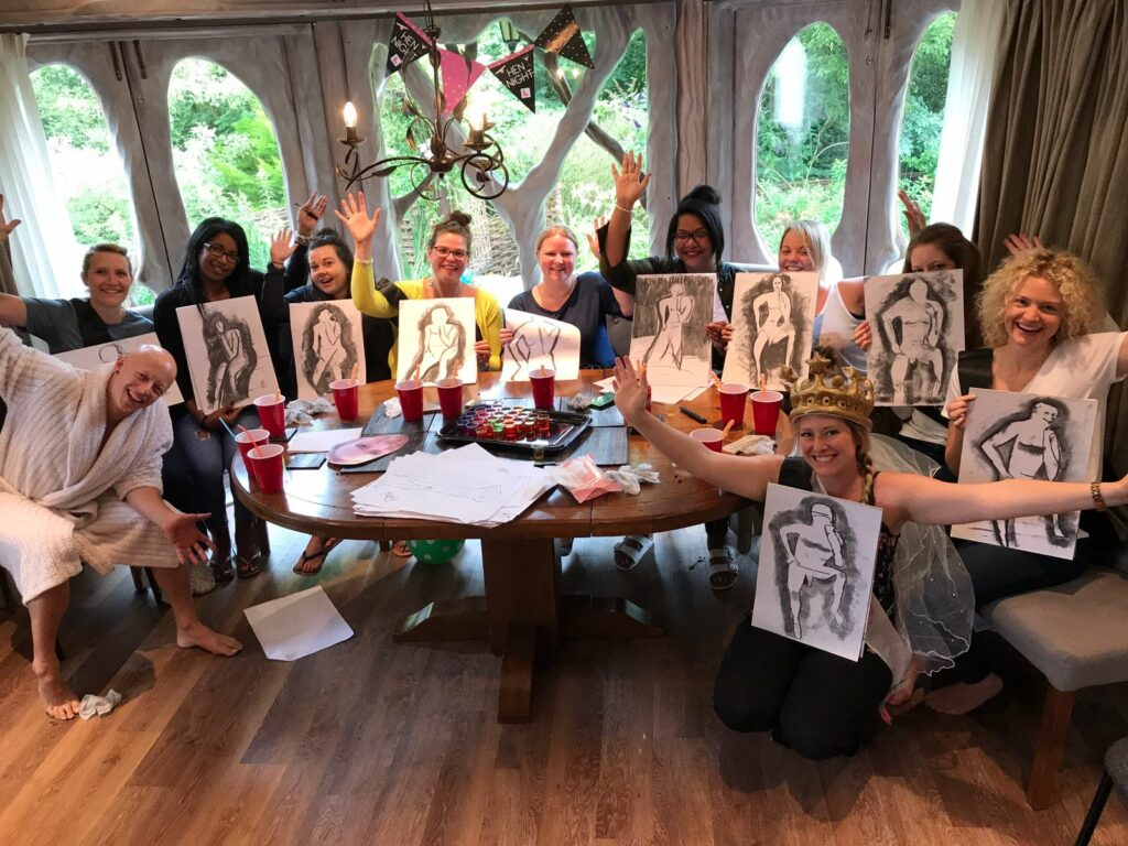 hen-party-life-drawing group of hens and male model
