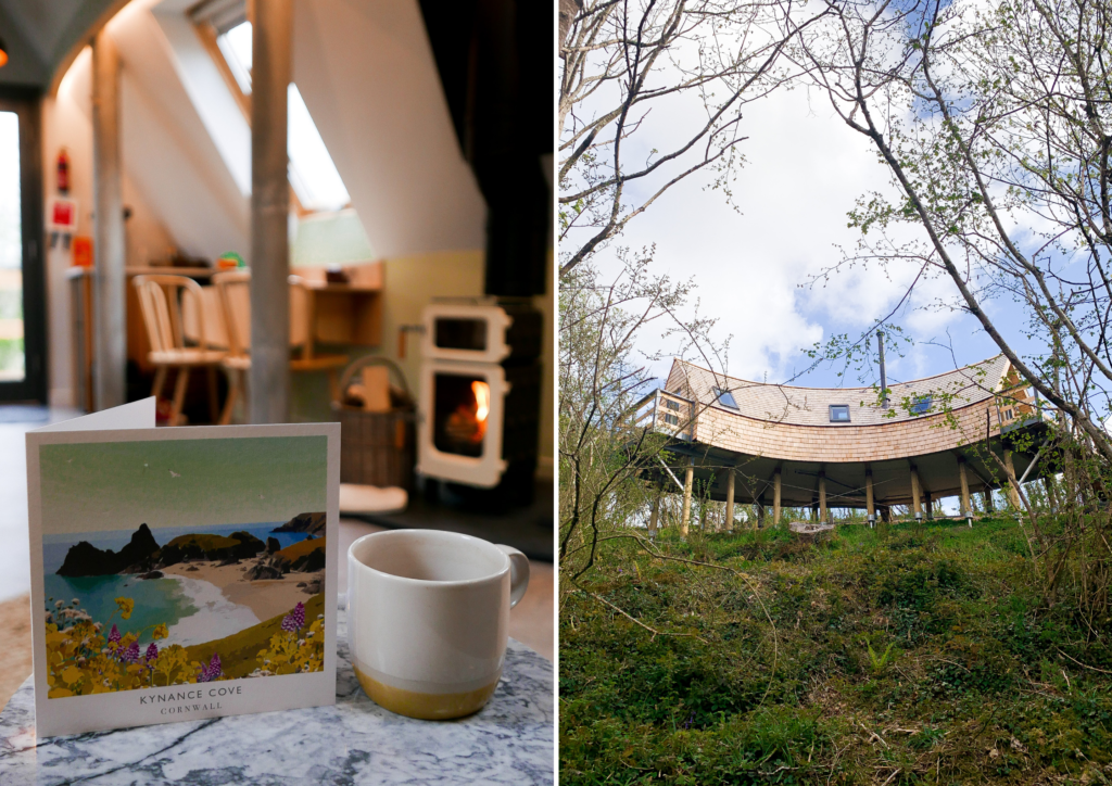 unique stays cornwall: kosel treehouse exterior and log burner
