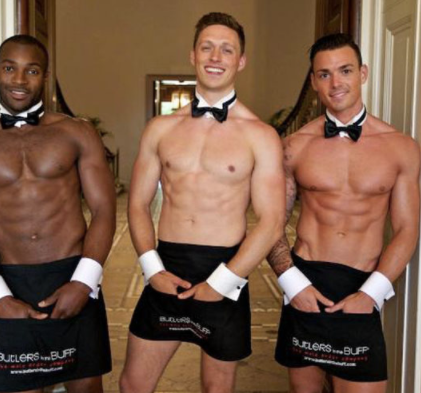 afternoon-tea-hen-party with butler in buff