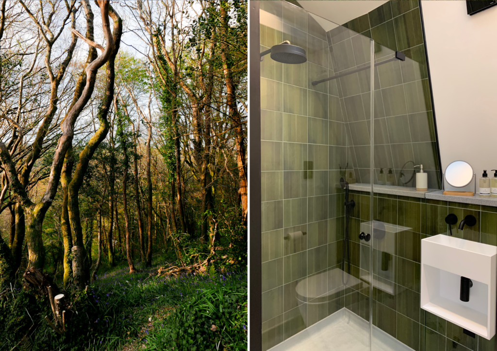 unique stays cornwall: kosel treehouse exterior and bathroom