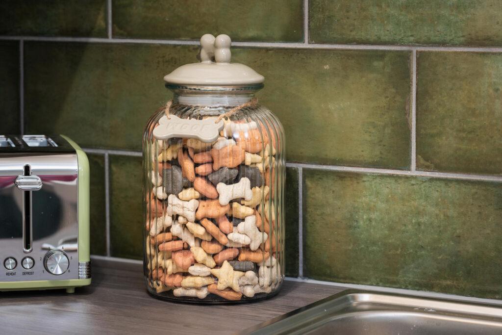 dog-friendly-cottage-lyme-regis dog biscuits in jar