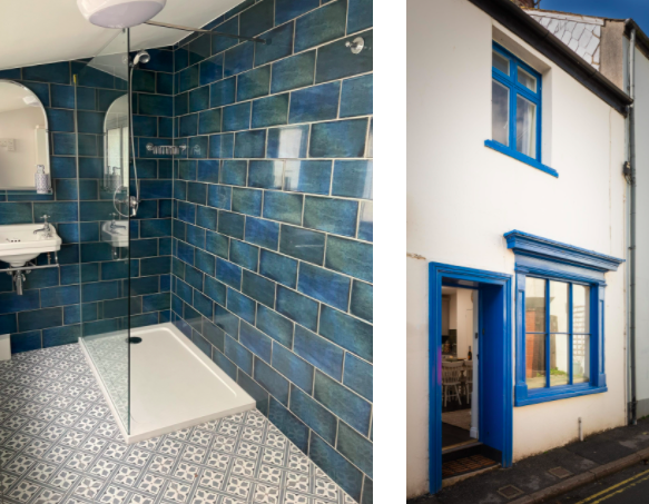 dog-friendly-cottage-lyme-regis bathroom and exterior