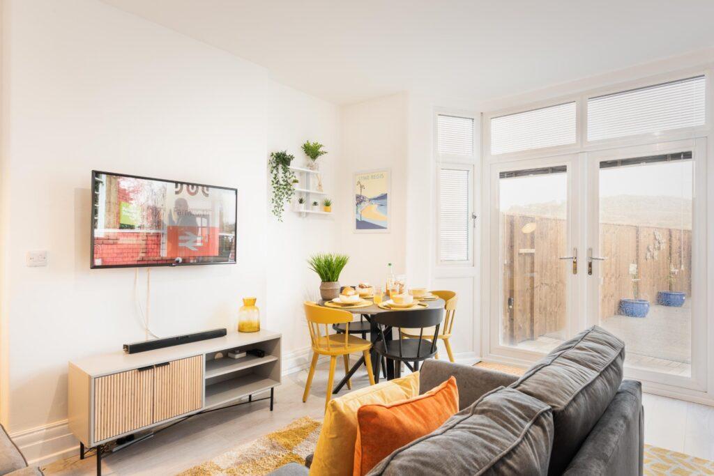 dog-friendly accommodation lyme regis living area