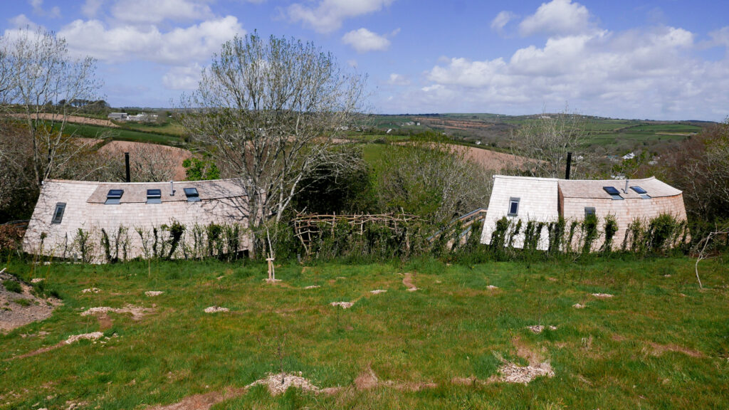 unique stays cornwall: kosel treehouse - both from distance