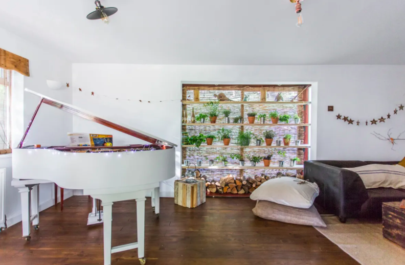 up glamping cabin in the forest of dean - baby grand piano lounge