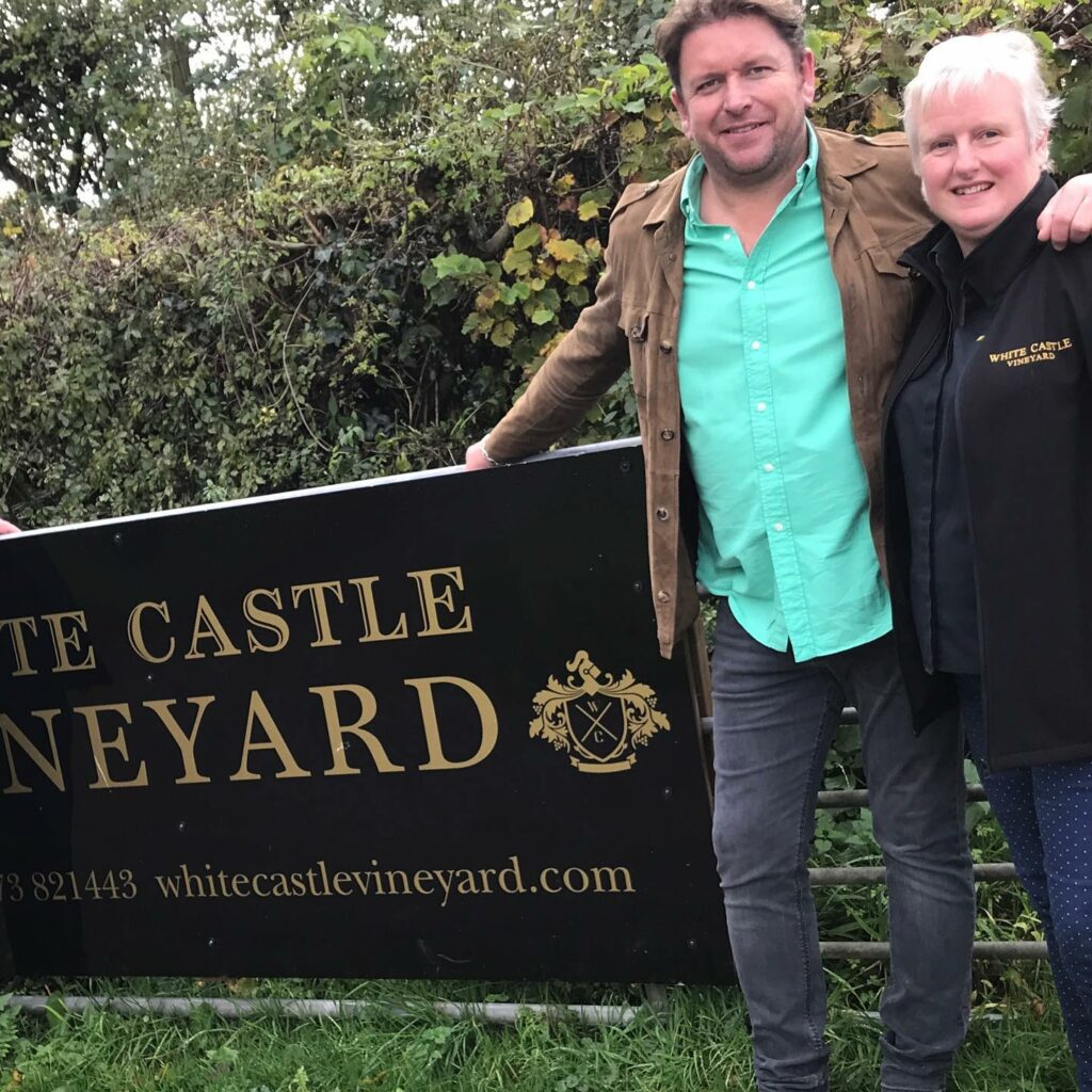 White castle vineyard in Wales: Nicola and James Martin