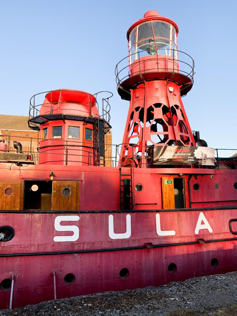 SULA-Lightship-Gloucester-Docks in daytime