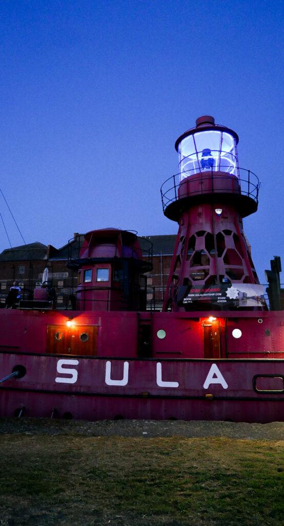 SULA-Lightship-Gloucester-Docks at night