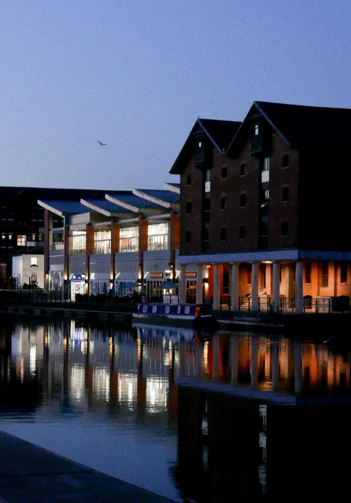 SULA-Lightship-Gloucester-Docks docks at night