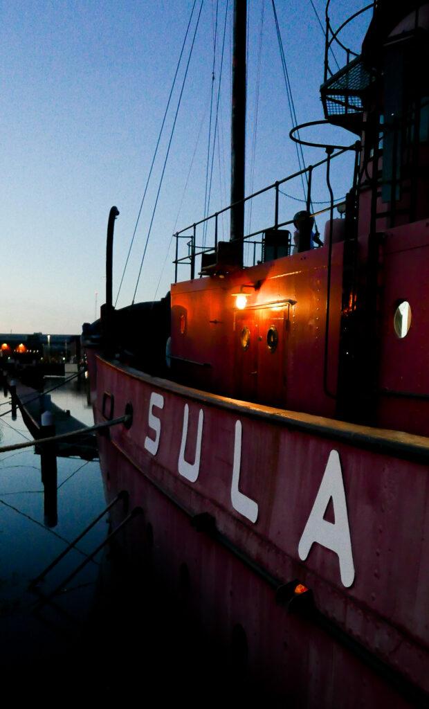 SULA-Lightship-Gloucester-Docks sula name at night