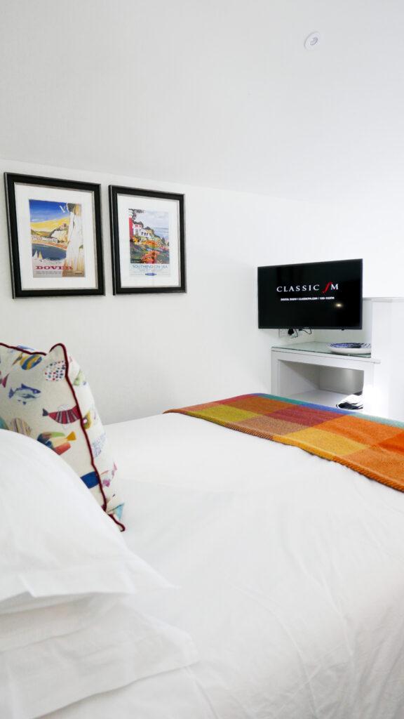 beachcroft-beach-huts: bedroom and TV
