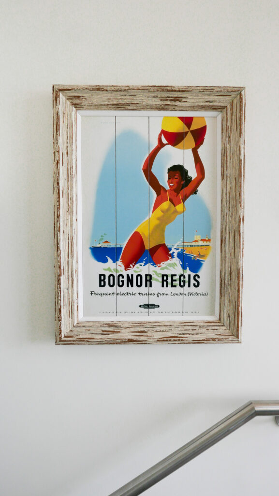 beachcroft-beach-huts: vintage poster on wall