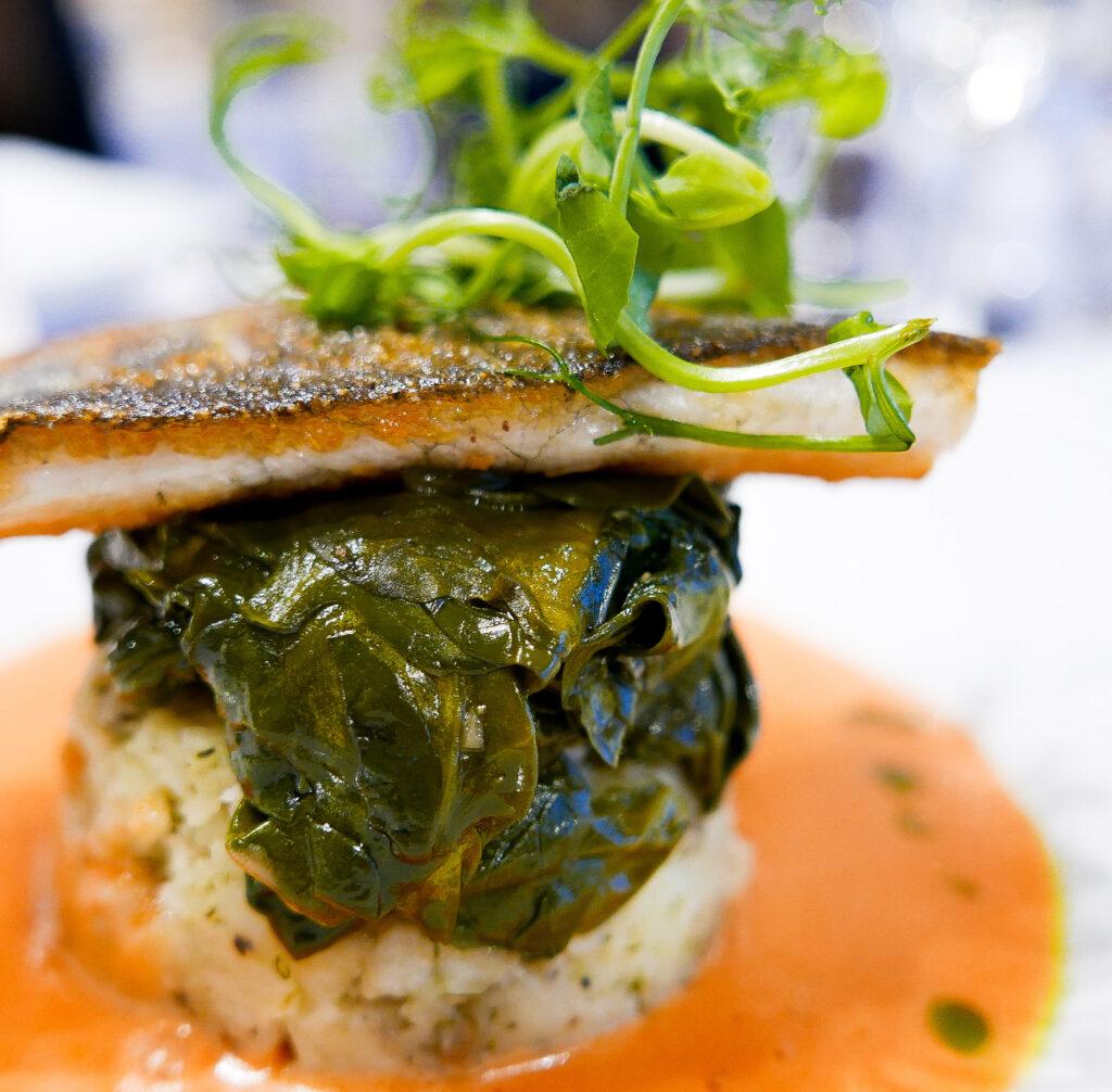 beachcroft-beach-huts: sea bass in restaurant