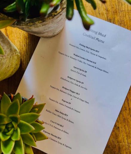 dark-bear-bridport-potting-shed: cocktail menu