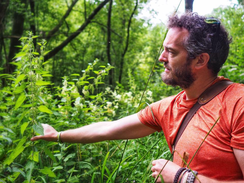 Rob Gould - The Cotswold Forager - Rob and nettle