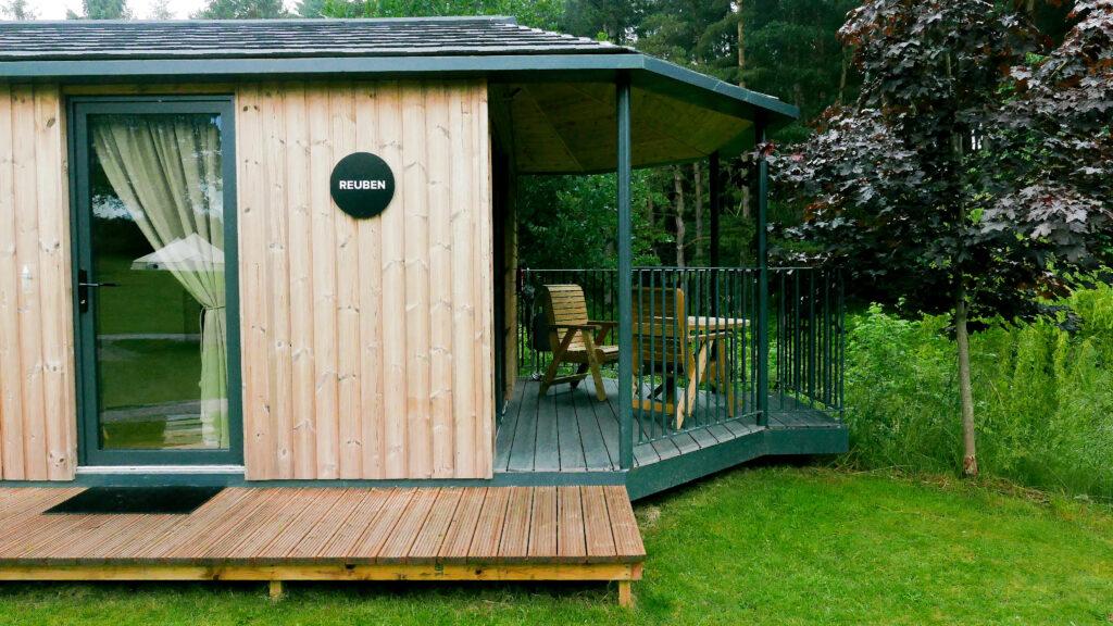 log cabins Shropshire - outside riverside cabin