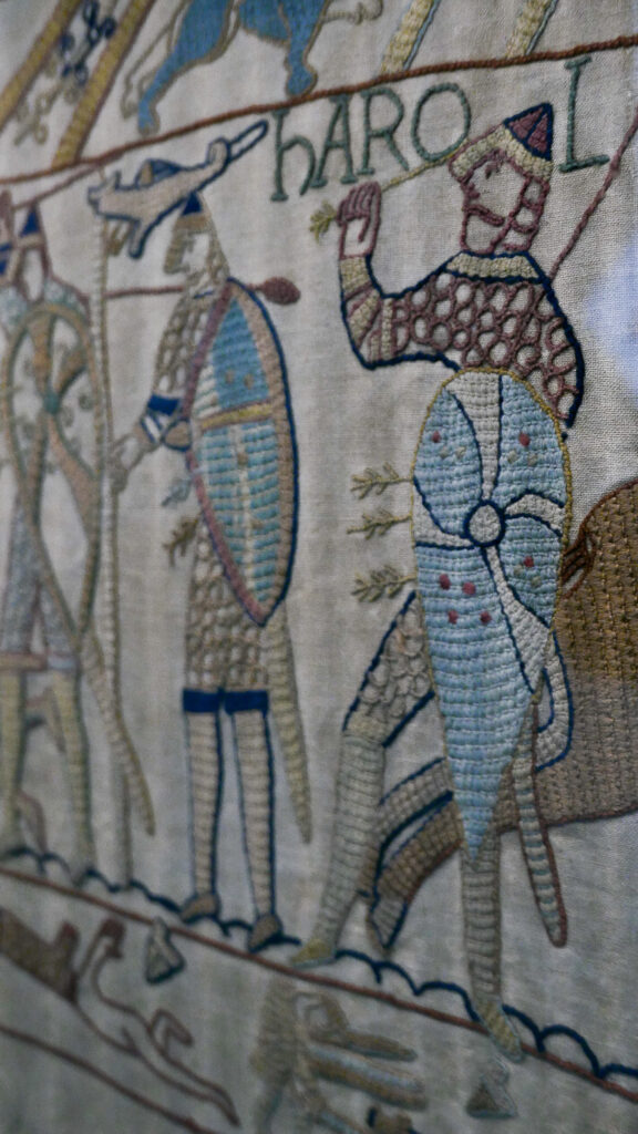 Close up of Reading's Bayeux Tapestry in Reading Museum