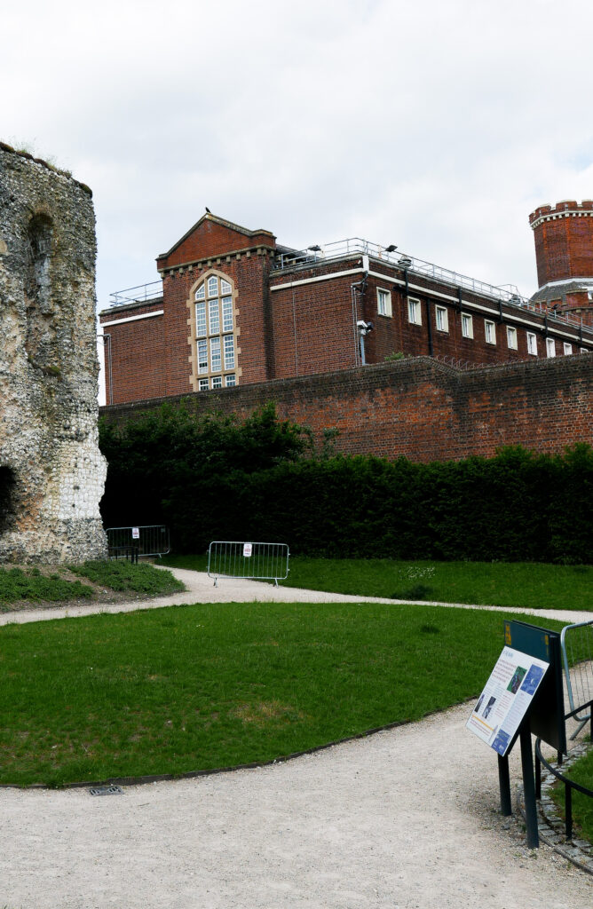 Reading Abbey Grounds and view of Reading Gaol