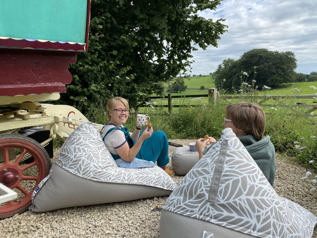 Peak district glamping - beanbags and people