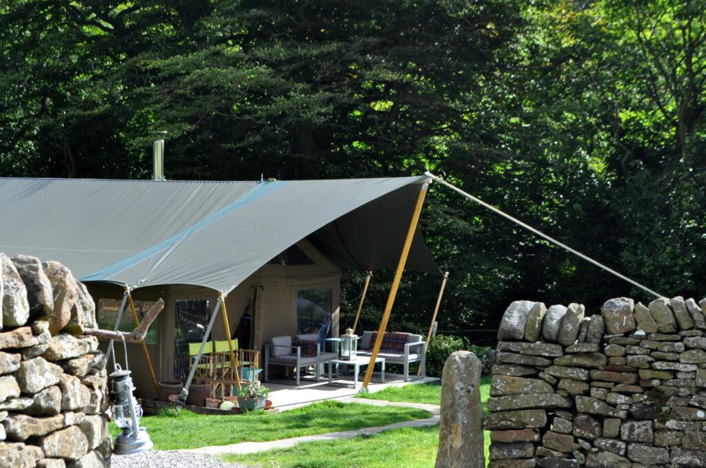 Peak district glamping - outside safari tent